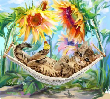 Фото Полосатый котенок с бабочкой на лапке, лежит в гамаке ...