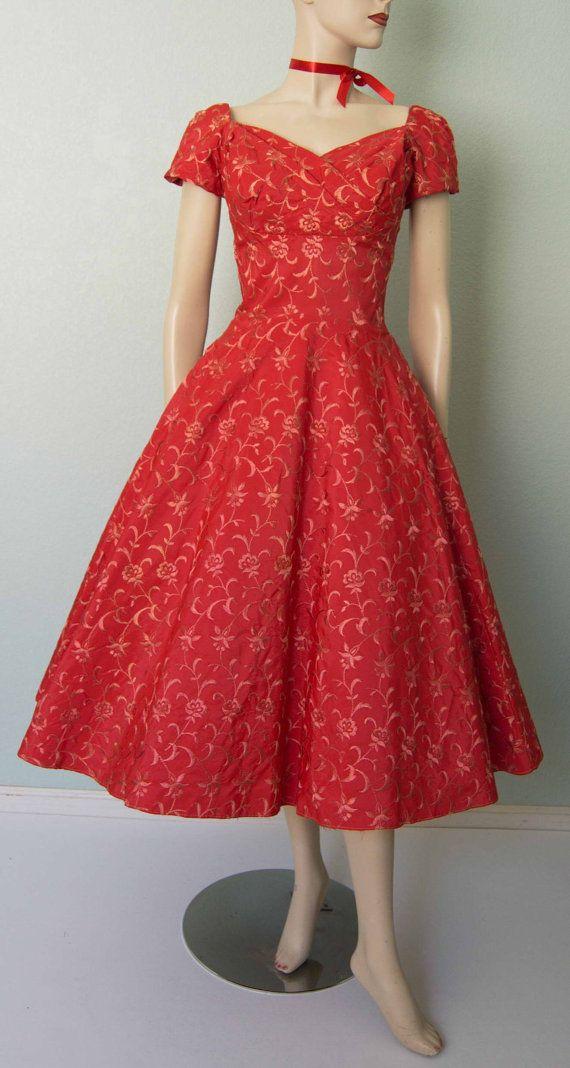 24fcc81eef 1950s Best   Co Embroidered Satin Taffeta by KittyGirlVintage ...