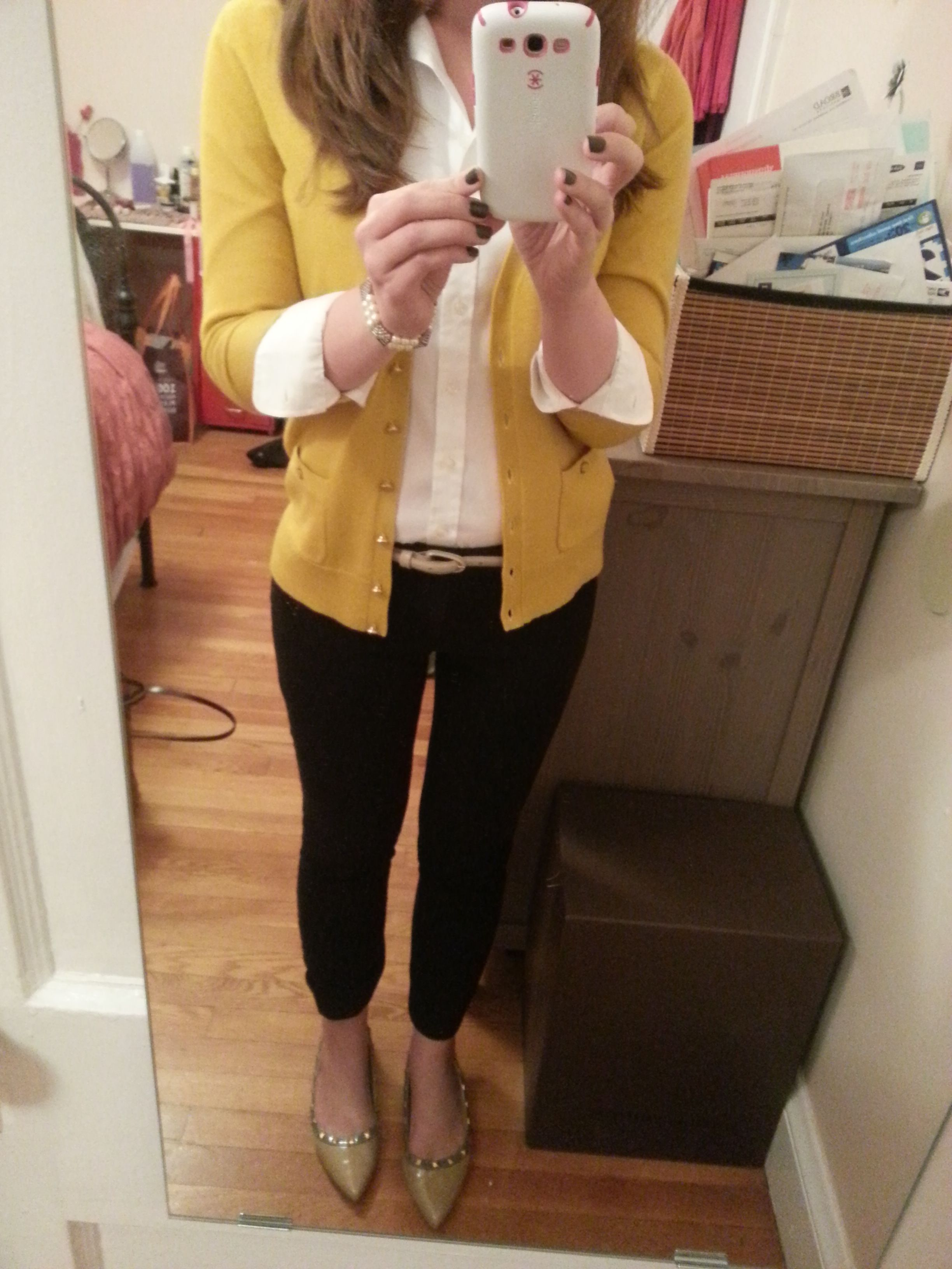 Cardigan, white button down, black skinny pants, pointy flats ...