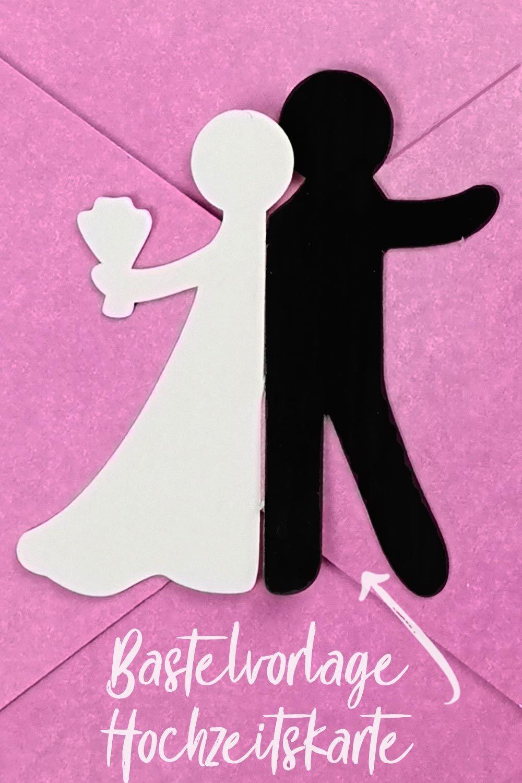 Bastelvorlage  Plotterfreebie fr Hochzeitskarte mit
