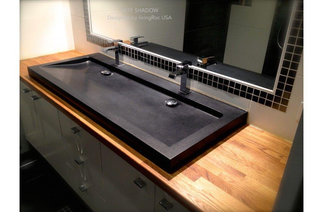 47 Black Granite Double Bathroom Trough Sink Yaté Shadow In 2019