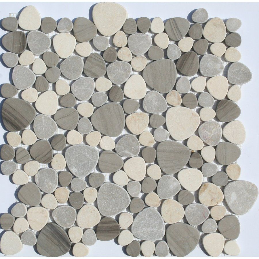 shop faber 13in x 13in sand dune pebbles blends mosaic wall tile