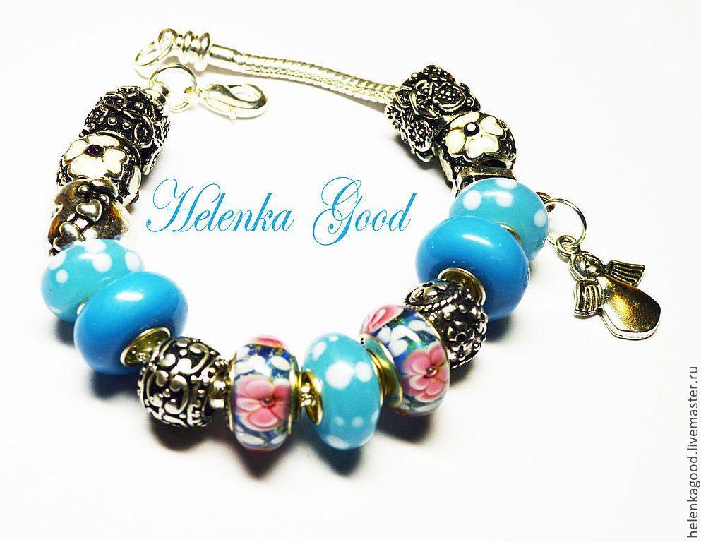 Купить Голубой ангел 84 Браслет евро шарм - голубой, модный браслет, модный аксессуар