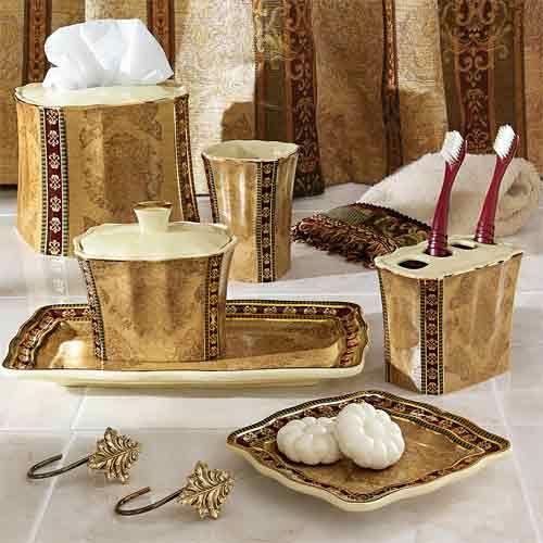 Very pretty bath set love the rich gold color for Gold bath accessories sets