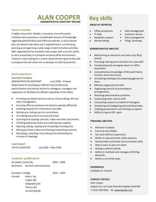 Office Administration Curriculum Vitae -   topresumeinfo - administrative officer sample resume