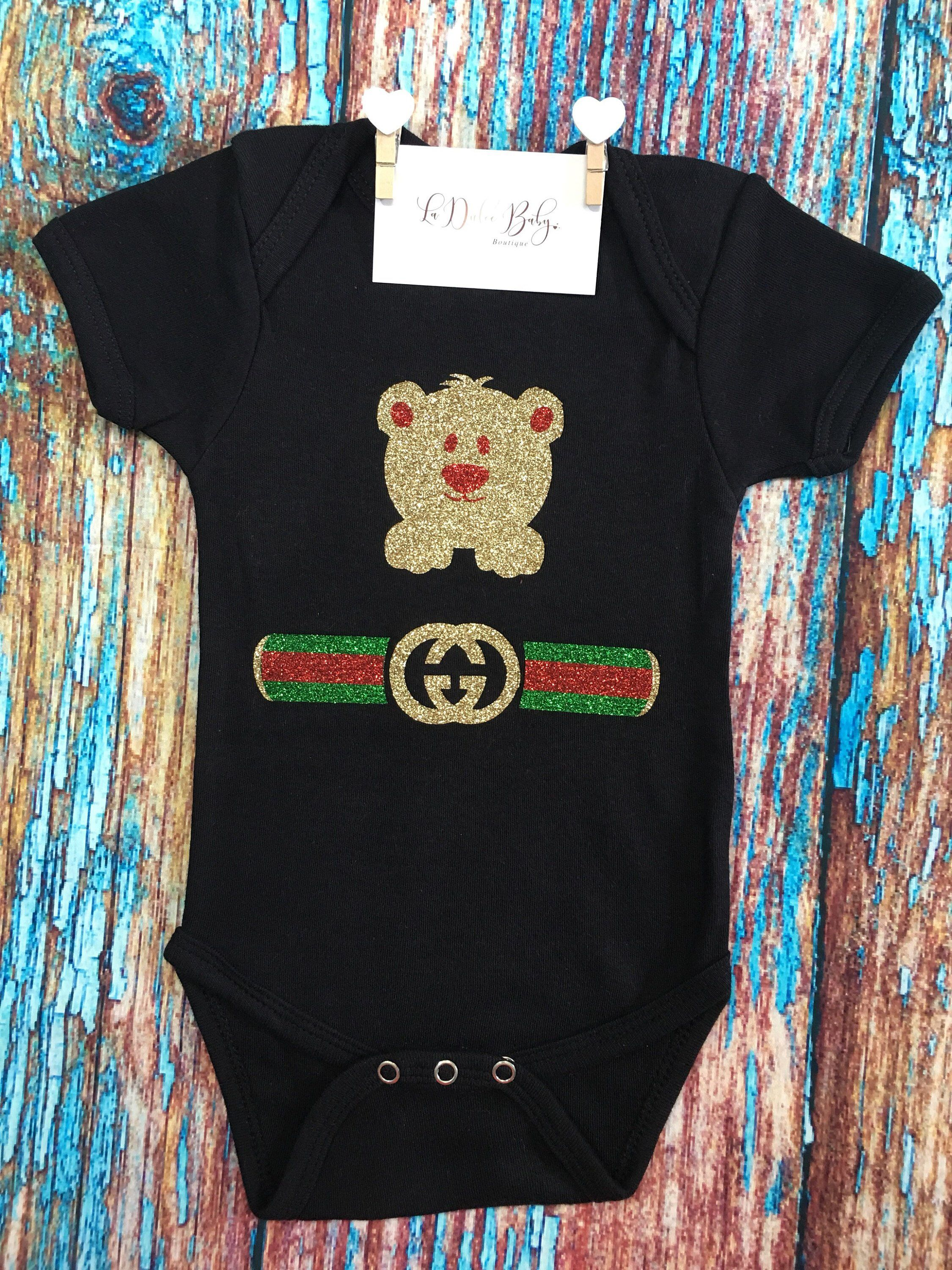 92646ee63b8 Excited to share this item from my  etsy shop  Gucci Inspired Unisex Bling  Onesie