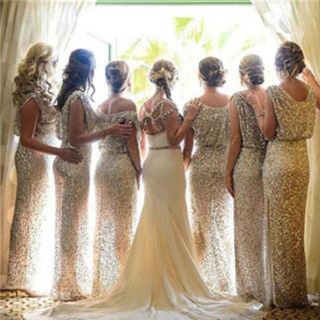 Plus size bling wedding dresses   Charming Popular Sparkly Bling Sequin Long Bridesmaid Dress