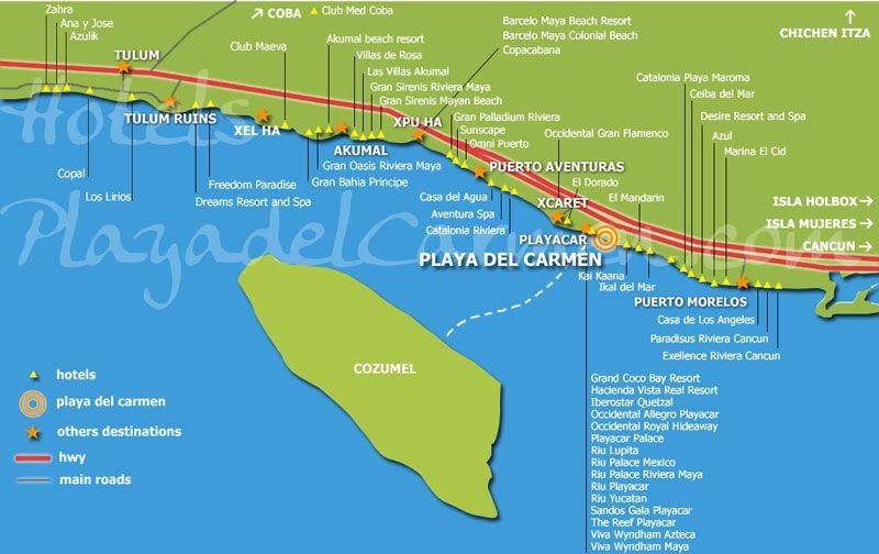 Riviera Maya Map Places Id Like to Go Pinterest Riviera maya