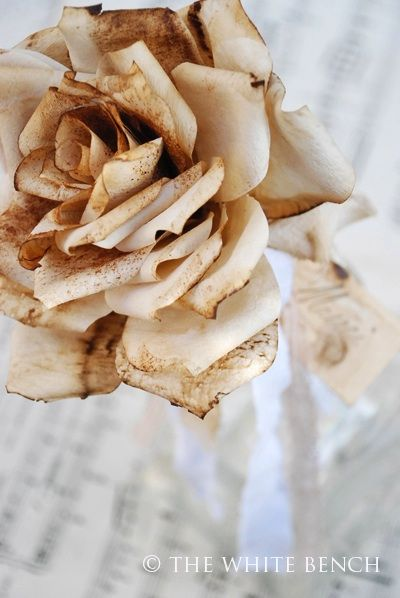 Coffee filter roses with a vintage patina