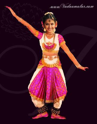 b4c5e23e99 Bharatanatyam Style Brocade Dance Costume for Young Girls Buy Online  Costumes