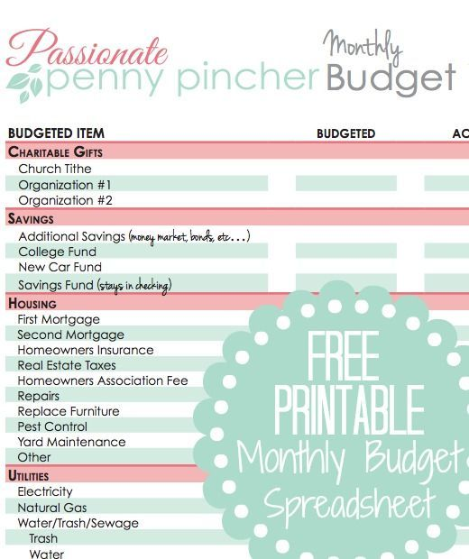 Free Printable Budget Spreadsheet | Pinterest | Printable budget ...