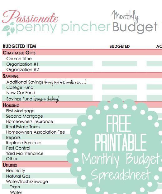 Free Printable Budget Spreadsheet | Recipes, Crafts, DIY, Parenting ...