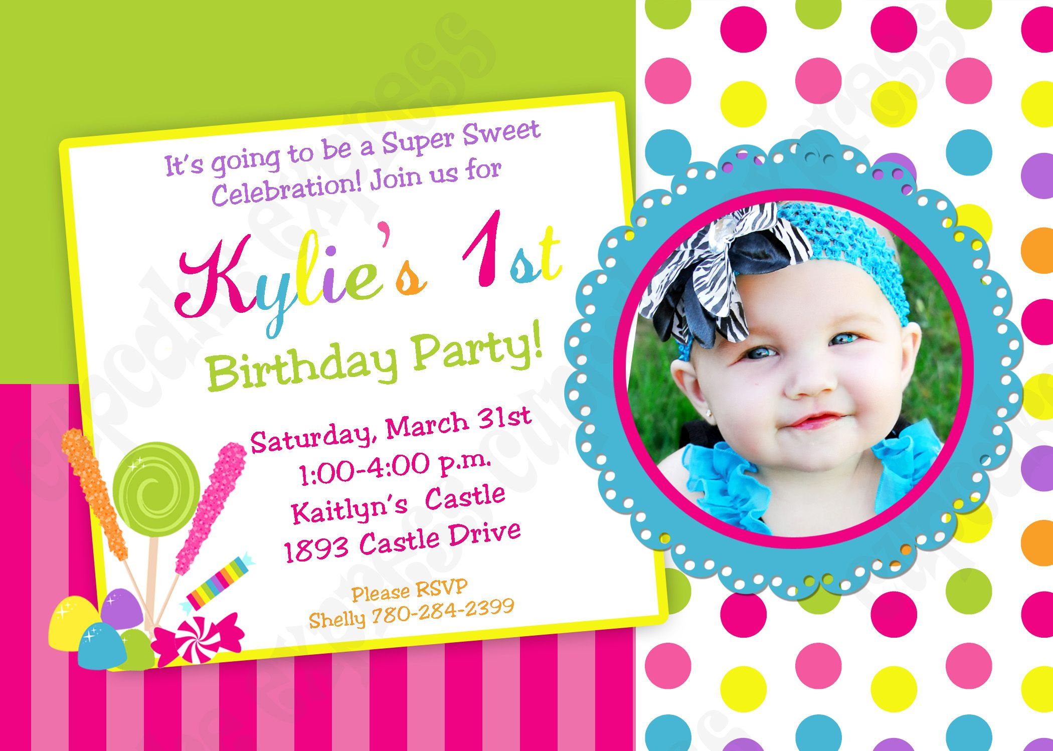 candy shoppe personalized photo birthday invitation sweet shop