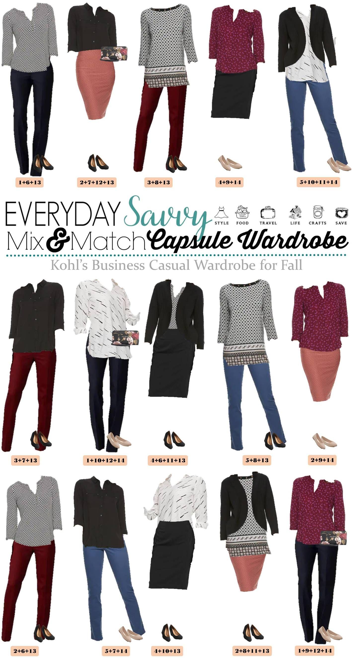 Kohls Fall Business Casual Capsule Wardrobe Business Casual