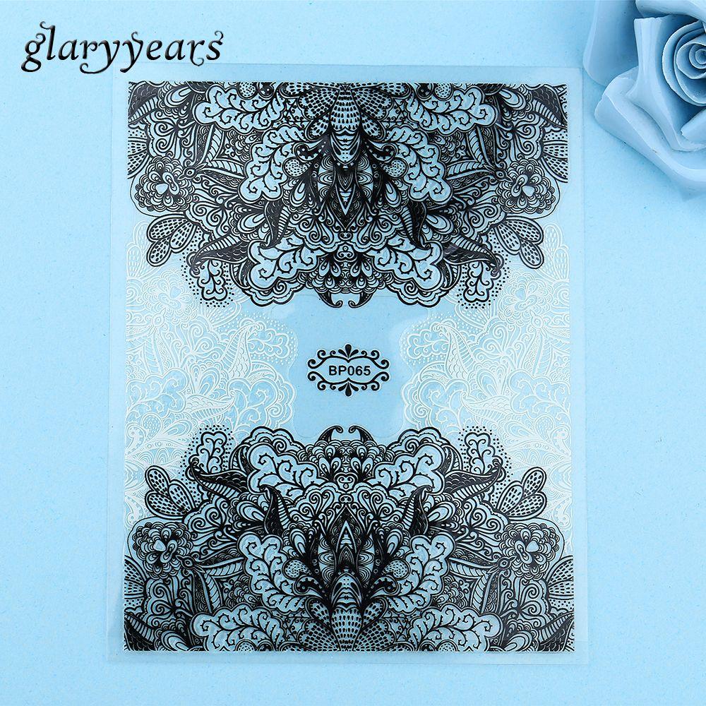 1 Sheet Fashion Black White Henna Flower Lace DIY Nail Art Design ...