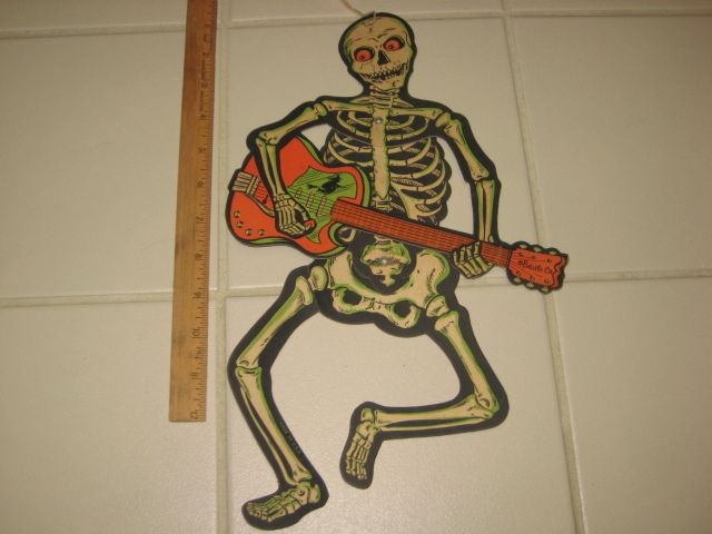 vintage halloween decoration jointed skeleton w guitar witch ebay - Halloween Decorations Ebay