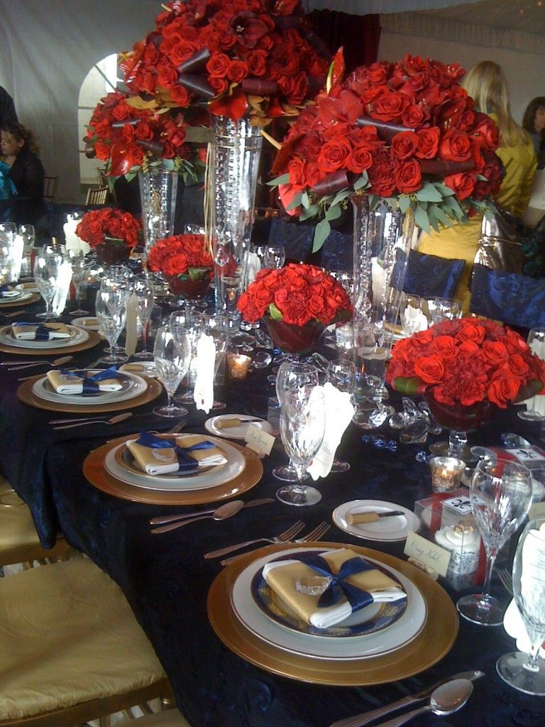 Navy, Red And Gold Table Setting X