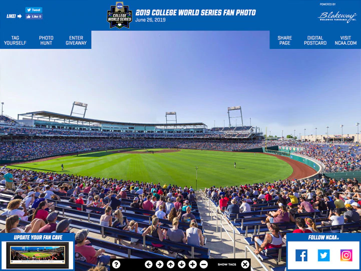 Collegiate Sports Championship Games Panoramic Photos Fan Cave Wall Decor In 2020 College World Series Photo Panoramic Print