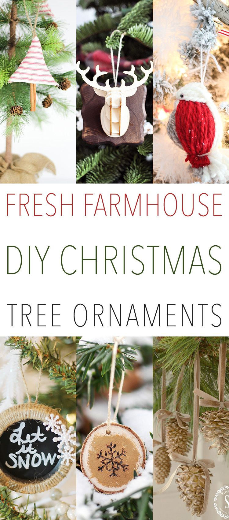 Today we have yet another collection of Fresh Farmhouse DIY Christmas Tree Ornaments for you. Each and every one of these little treasure will look Farmtastic on your shining ….happy tree! They also make incredible gift toppers too! So if you love Burlap…Grain Sacks…Chalkboard…Mason Jars and more…then you are going to enjoy these! So sit …