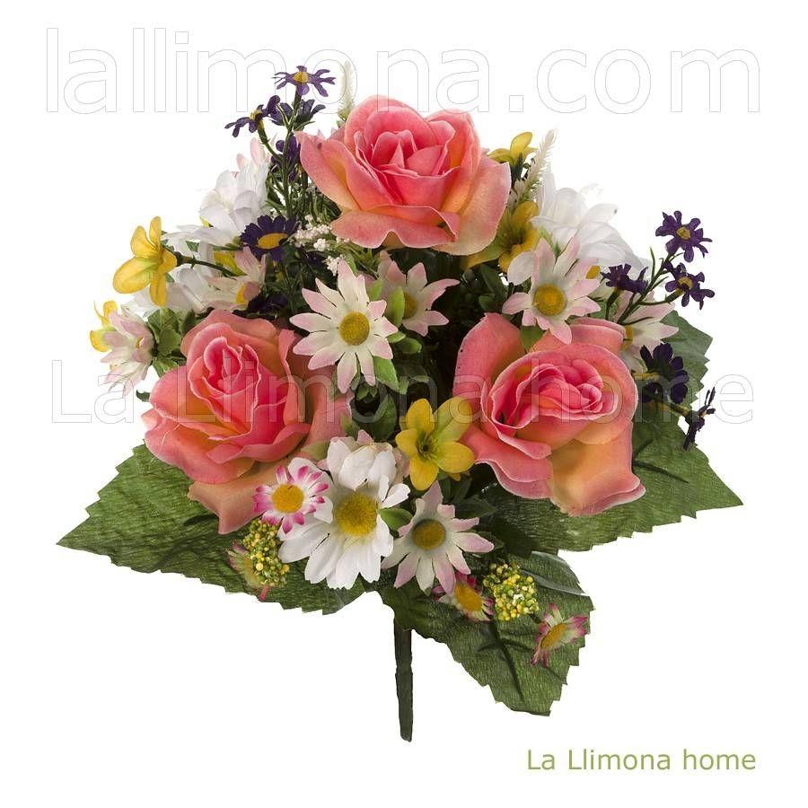 Ramo artificial flores margaritas rosas salm n 28 flores - Como hacer un ramo de flores artificiales ...