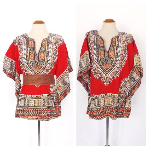 vintage 70s ethnic inspired short sleeve sweater / geometric striped knit tee shirt / hippy top / boho top 0TGUG