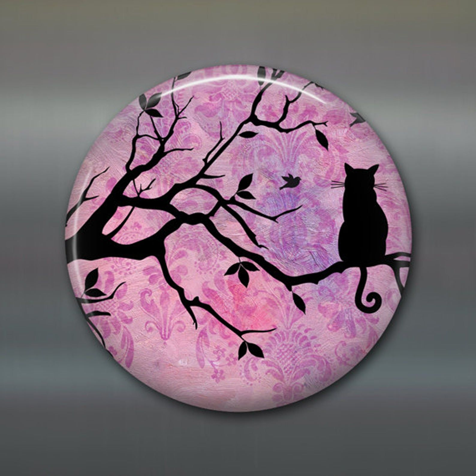 3.5 refrigerator magnet with black cat silhouette - housewarming gifts for cat lovers MA-604