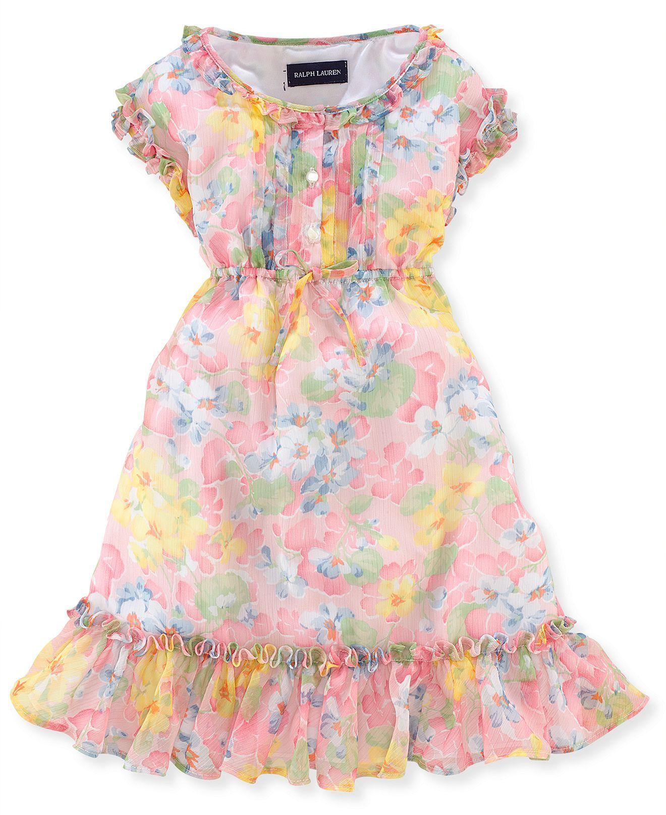 Polo Ralph Lauren Little Girls  Chiffon Dress - Kids Ralph Lauren Girls  2-6x - Macy s d823f44d5ac6