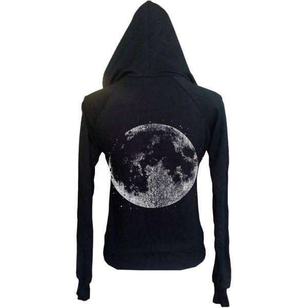 Womens Boho Gypsy Yoga Full Moon Halloween Vintage Retro Hoodie... ($35) ❤ liked on Polyvore featuring black, hoodies, sweatshirts and women's clothing
