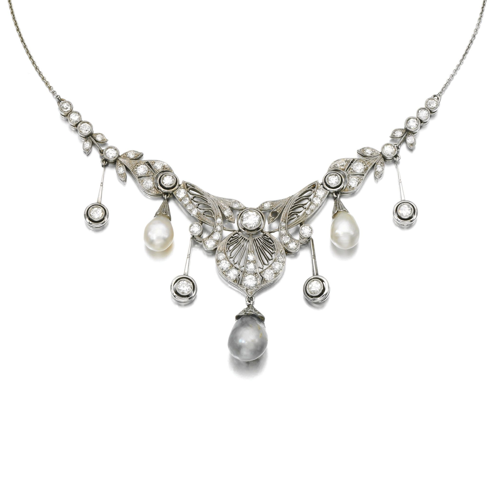 Natural pearl and diamond necklace circa antique jewels