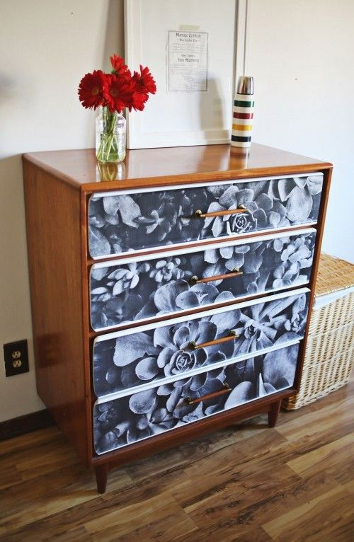 diy decoupage furniture. DIY Decoupage Black And White Photo Furniture Diy