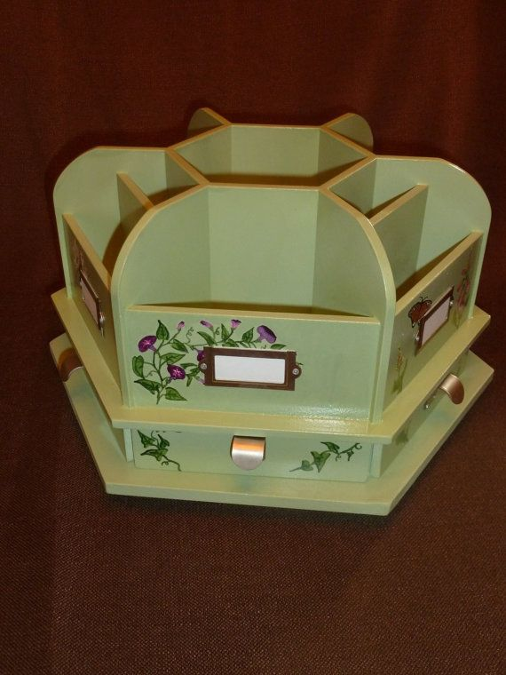 Hand Painted Sage Green Rotating Wood Craft Supplies Caddy Or Desk Organizer