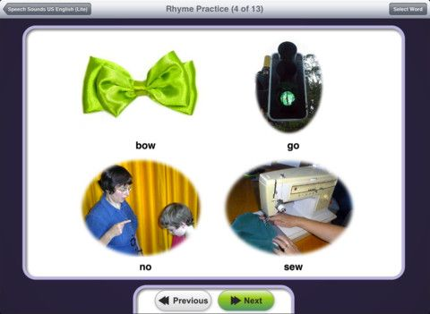 Speech Sounds On Cue For Ipad Lite Us English Speech Therapy Apps Rhyming Words Apraxia