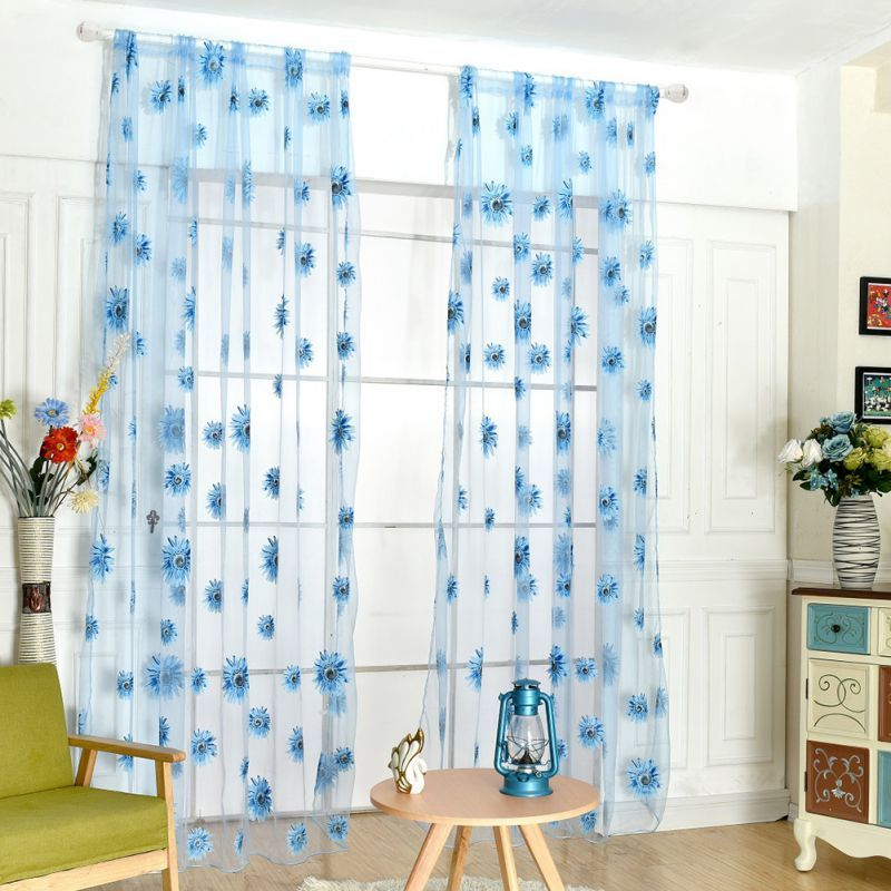 95*200cm Curtain Sunflowers Printed Sheer Window Panel Curtain For Kitchen  Living Room Voile Screening