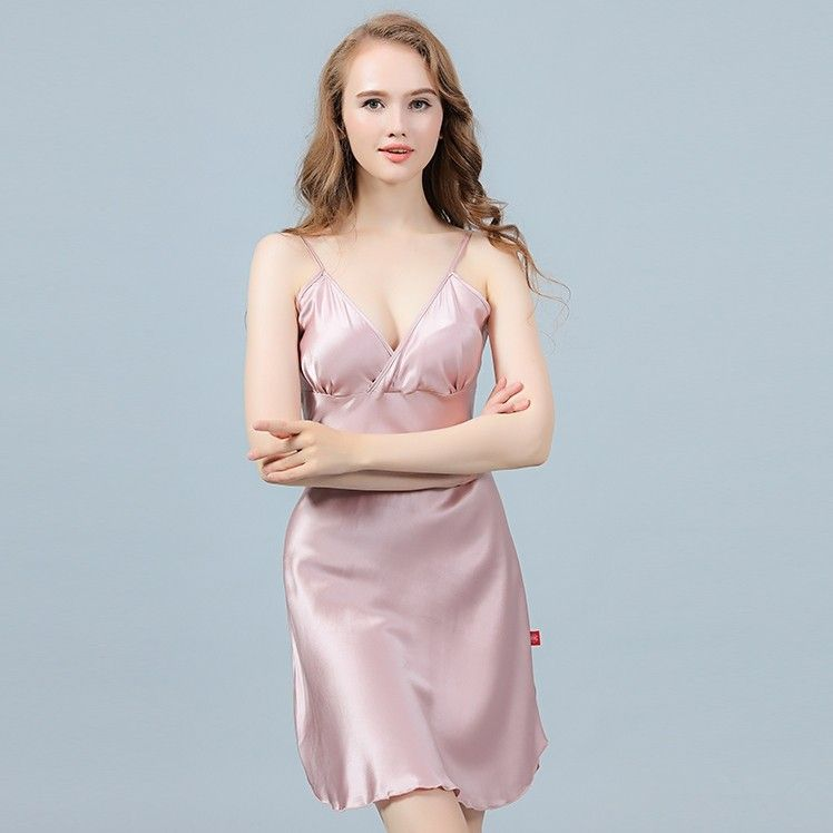 8ad8b92143 V-neck Adjustable Spaghetti Straps 19 Momme Silk Nightgown in 2019 ...