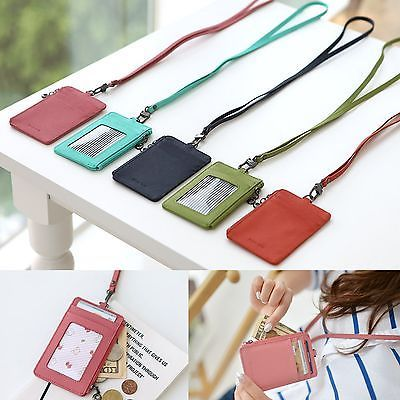 Leather ID Badge Card Money Coin Lanyard Necklace Clear Holder Zip Case  Wallet in Clothing ac2cda7e15