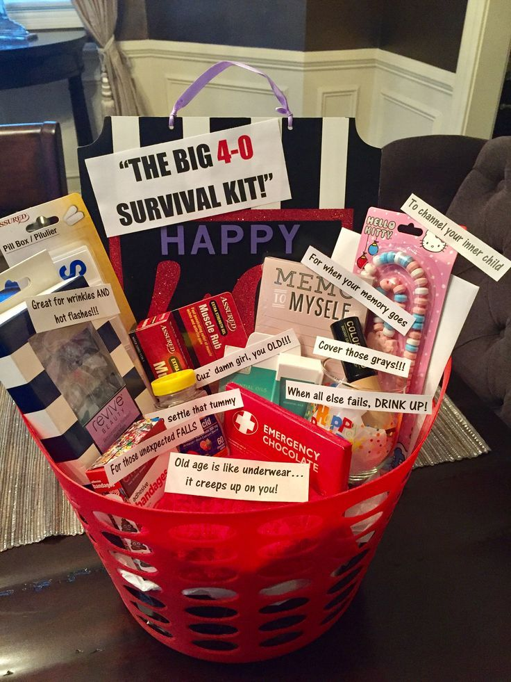 40th birthday survival kit for a woman (most things from