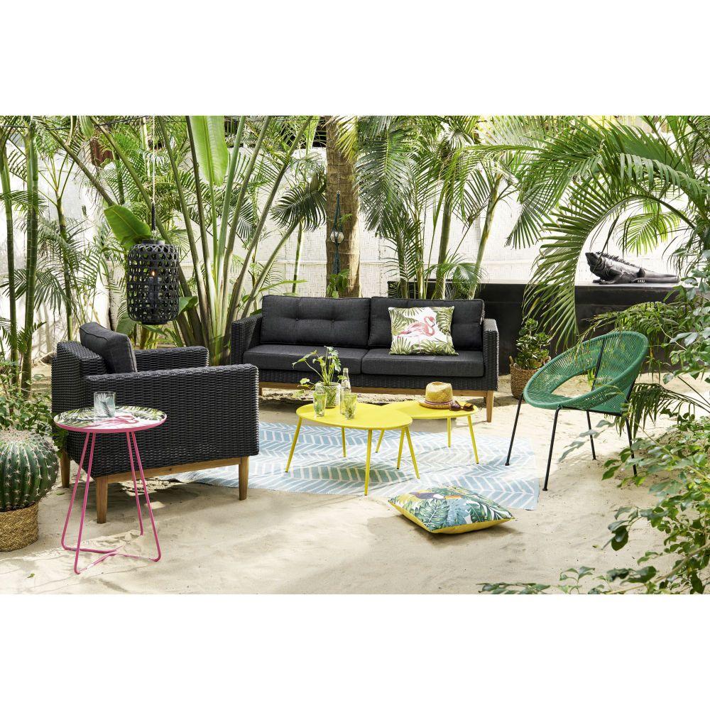 Fauteuil rond en fil de résine vert | Salon de jardin et terrasse ...