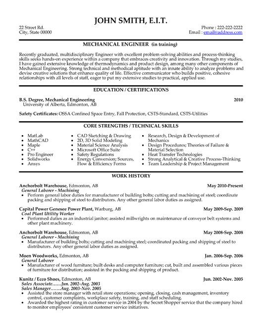 Best engineering resume template resume sample click here to this mechanical engineer resume template yelopaper Image collections