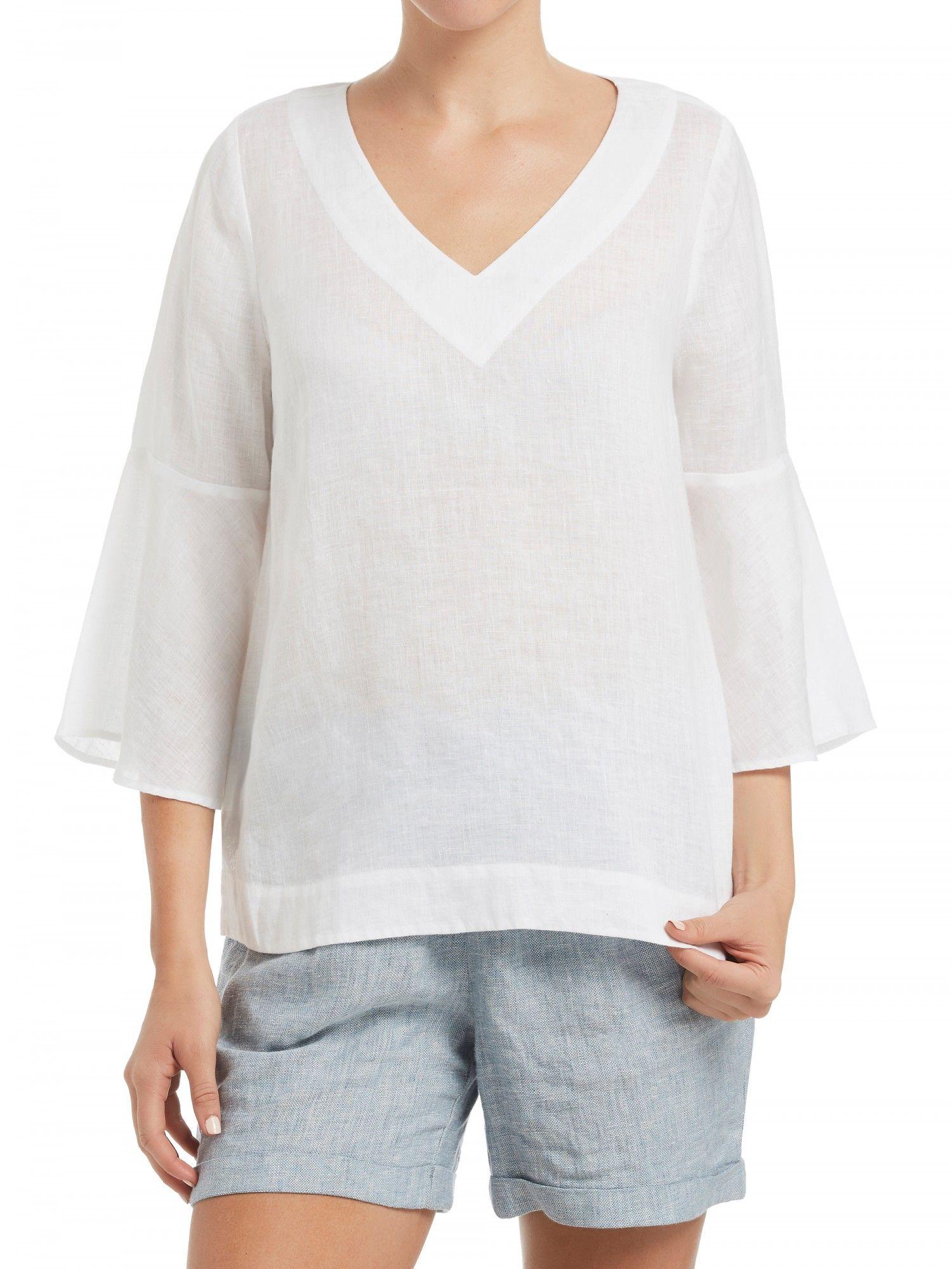 a2221887c0d3a Linen Bell Sleeve Top