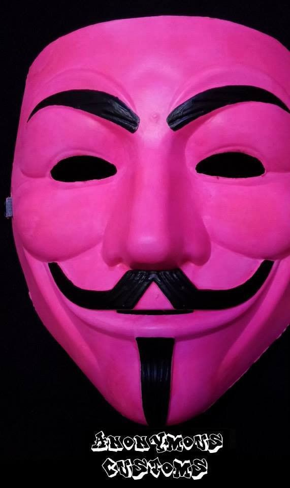 Anonymous Pink Custom Mask Guy Fawkes Hand Painted Guy Fawkes