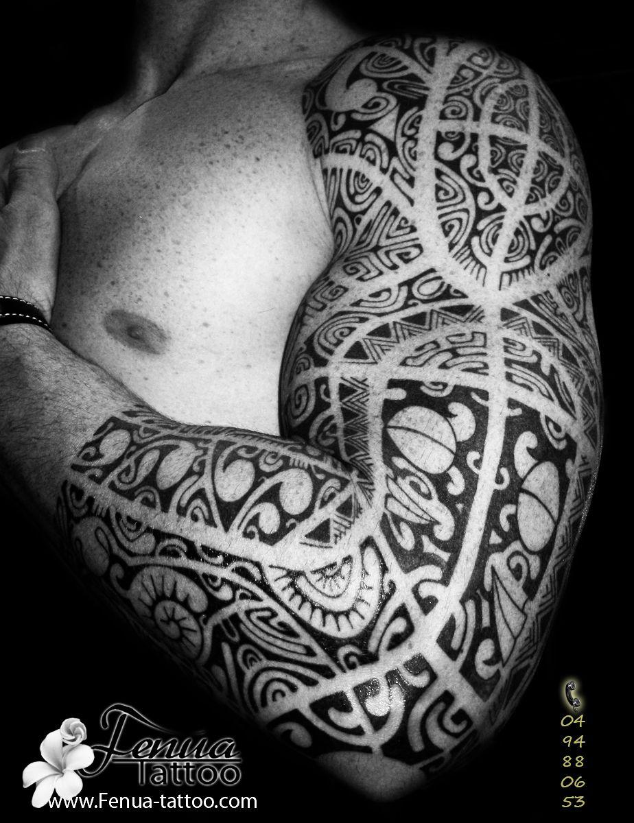 Tatouage Polynesien Sur Le Bras Complet Homme Pacific Island Tatoo