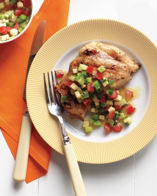 """Emeril's Grilled Chicken Thighs and Garden Salsa by Emeril Lagasse. The season's best veggies shine in a fresh salsa to serve on flavorful grilled chicken -- the perfect dish for an alfresco family dinner. Emeril says, """"Summer never tasted so good!"""""""
