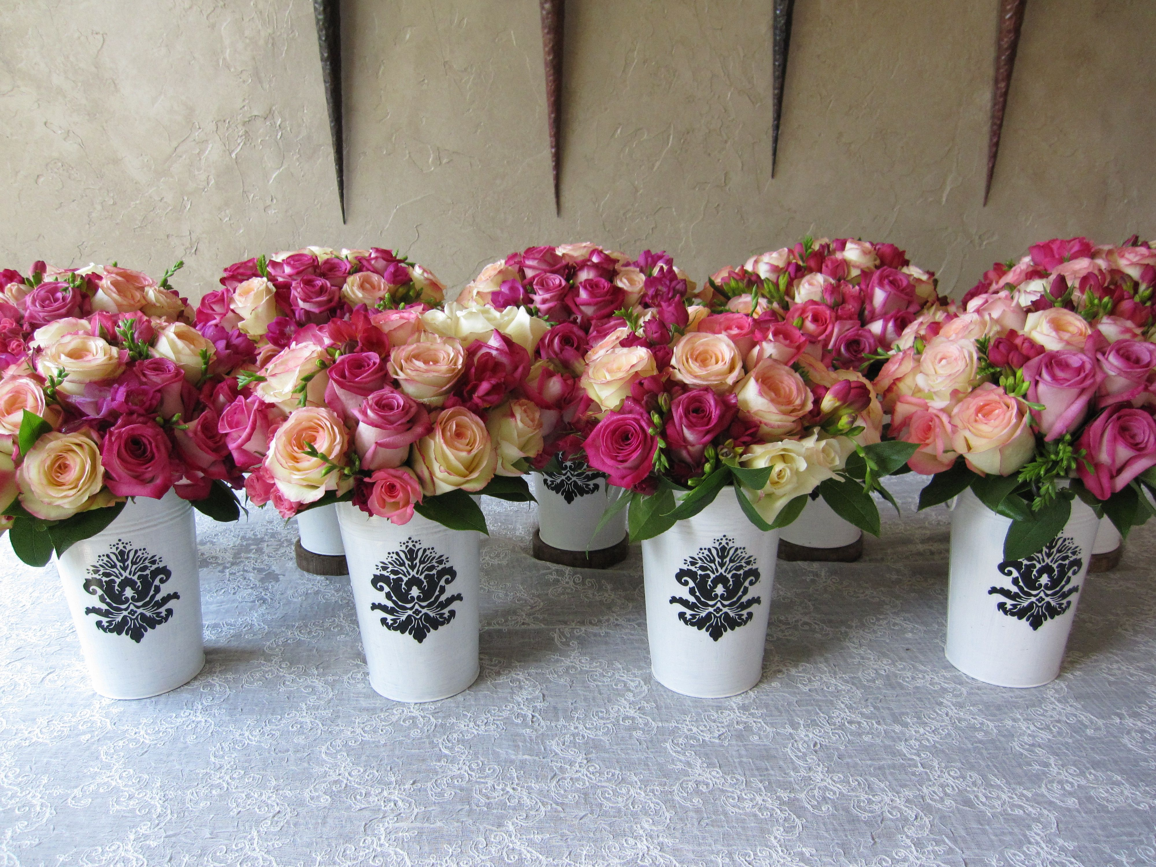 French Rose Bucket Bouquets