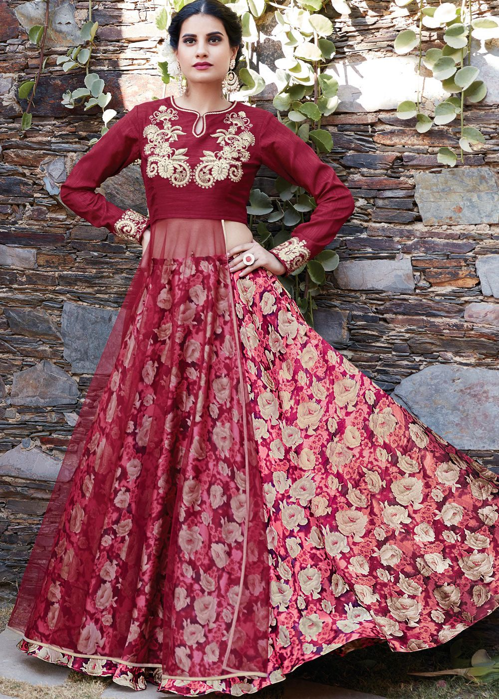 63ddabde56 #Magenta #floral printed #lehenga in satin paired with magenta full sleeved  side slit #kameez enhanced by embroidery and stone work.