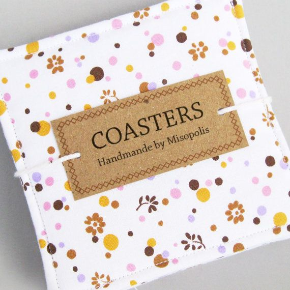 Simple yet elegant #packaging    Fabric Coasters  Floral Polka Dots  White Mustard by Misopolis, $24.00