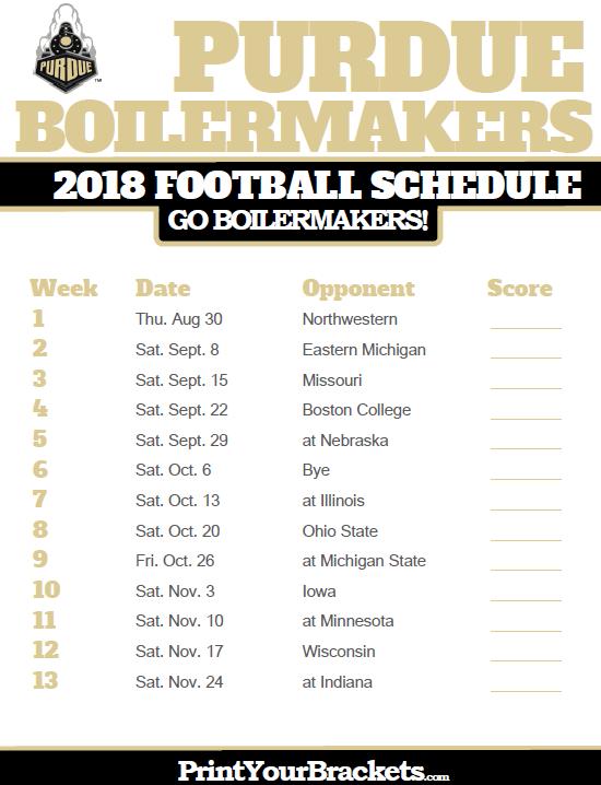 2018 Printable Purdue Boilermakers Football Schedule | Printable