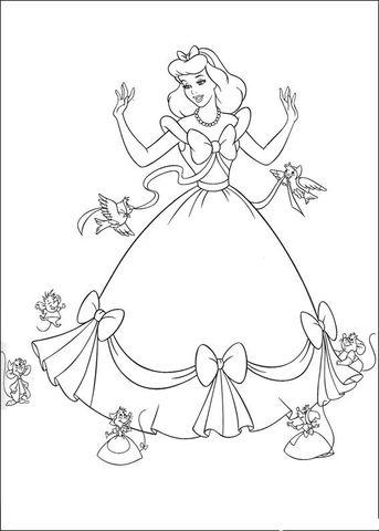 Birds And Mice Help Cinderella Coloring Page