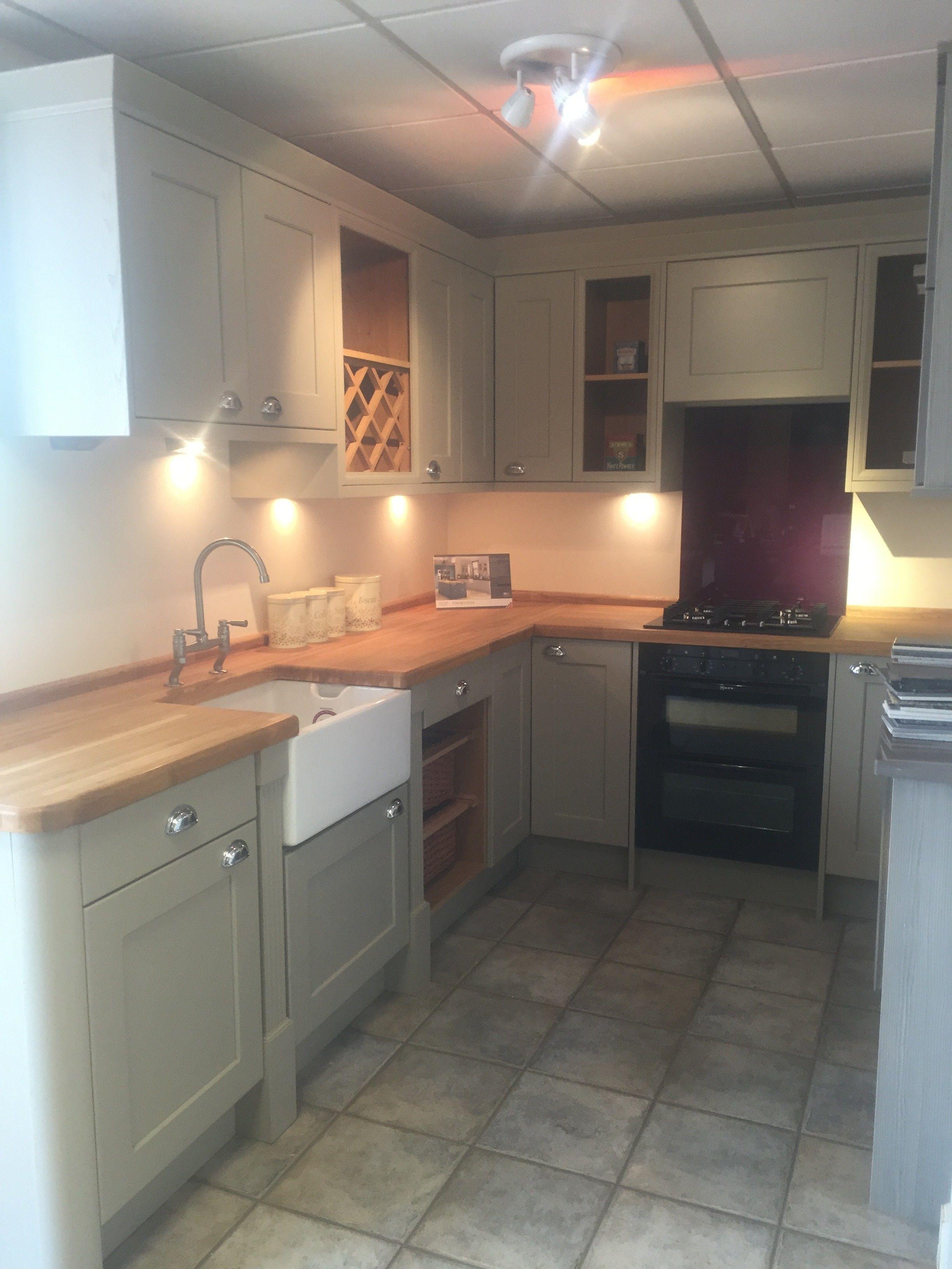 STUDIO Cambridge Dakar Kitchen with Hardwood Oak Worktops & Belfast ...