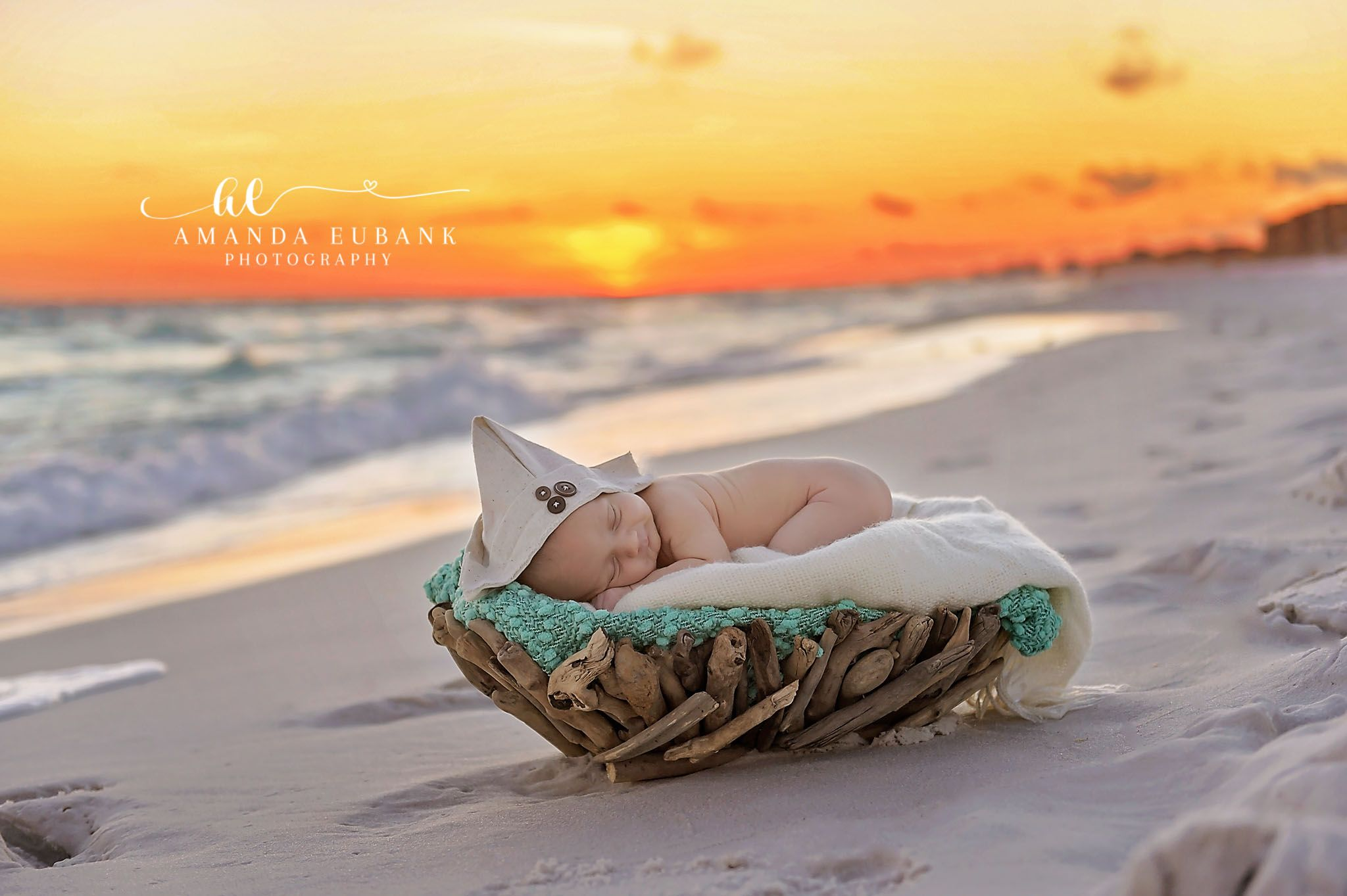 Beach Newborn Photographer Outdoor Driftwood Basket Prop On The Santa Rosa Destin Florida Amanda Eubank