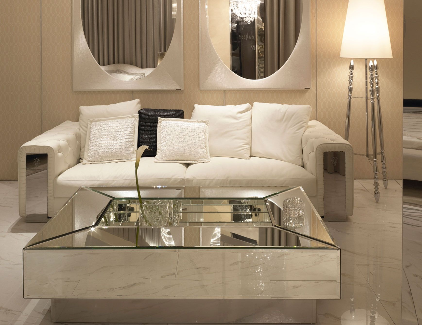 Mesmerizing mirrored coffee table with glass and wood for Modern living room bench